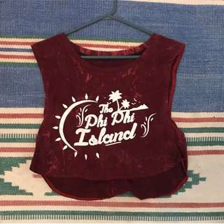 Vintage Style 80s Holiday Tee Singlet Cropped Red