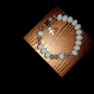 White Crystal Rosary Bracelet