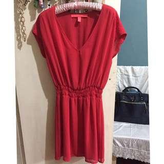 Mango Casual Red Chiffon Dress