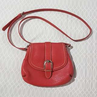 TALBOTS Red Leather Body Bag