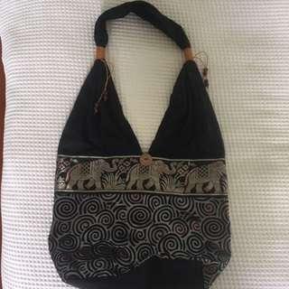 Shoulder Bag With Elephant & Swirl Design