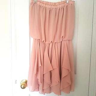 Pink Chiffon Ruffled Dress