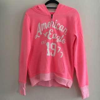 American Eagle Neon Pink Zipped Hooded Jacket