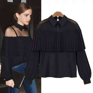 💕New Arrival U.S. Style Mesh Combined Chiffon Collar Long Sleeve Blouse💕