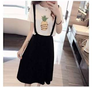 💕New Arrival Korean Cotton Fruit Print 2 in 1 Dress / Top and Jumper Dress💕