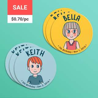 [SALE] Personalized Birthday Coaster Character Kids - illustration, party favor, gift, custom coaster, paper coaster