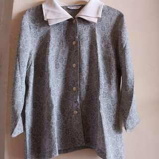 [Unbranded] Vintage Floral Blouse Long Sleeves Grey