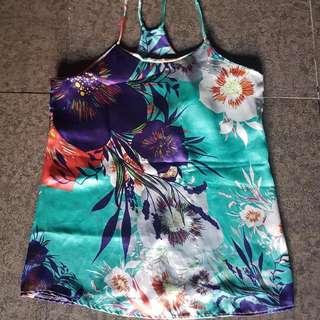 Silk Floral Haltered Top