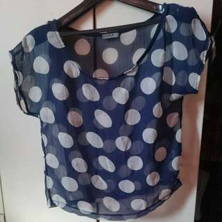 Unica Hija Polka Dot Spot Sheer Semi Crop Top