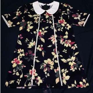 Dress Anak Perempuan Bunga-bunga Krem