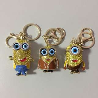 Despicable Me Rhinestone Plated Minion Keychains Brand New $8 Each