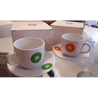 m & m 巧克力 杯盤組 兩色 拆售
