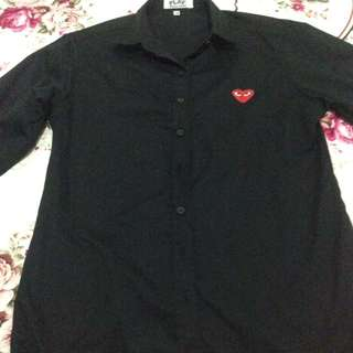 CDG Shirt Black In Red Heart