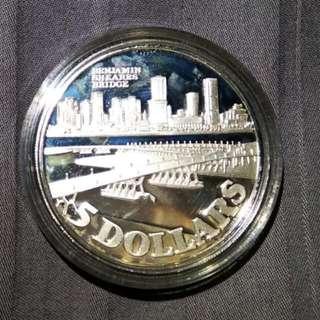 Singapore $5 Benjamin Shears Bridge Silver Coin