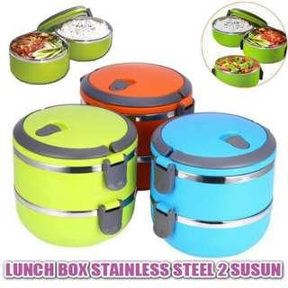 Lunch Box 2 Susun Rantang Double Stainless Steel Polos Warna Dobel Unik Kotak Makan Rantang Bekal Dapur Rumah Tangga Kedap Udara Piknik Travelling
