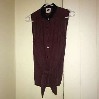 Button Up Tie Up Singlet Top