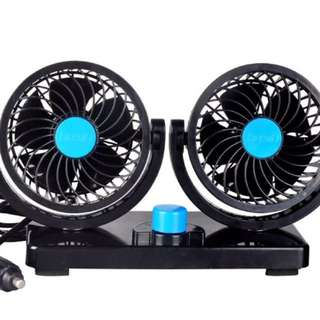 *現貨*雙頭車用風扇 汽車电扇 降溫 除臭 排熱 360度 旋轉【HX-T303】 車用 12V