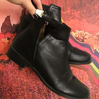 Black Leather Boots W/ Gold Buckle