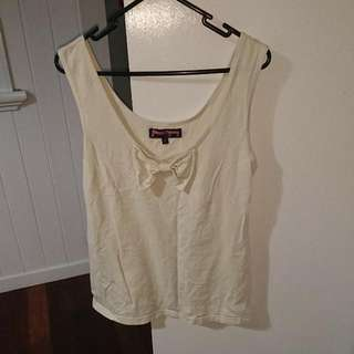 Cream Singlet Top With Bow Size 14