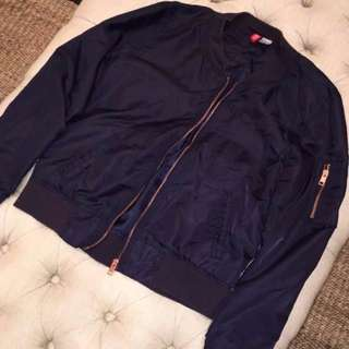H&M Navy Bomber Jacket With Rose Gold Zipper