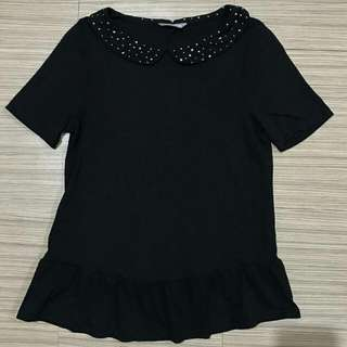 Marks & Spencer Black Peplum Style Collared Blouse
