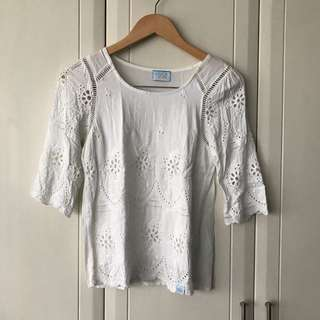 Unica Hija White Cotton Embroidered Peekaboo Top