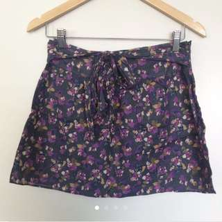 Forever 21 Heritage Floral Cotton Skirt With Belt Size S