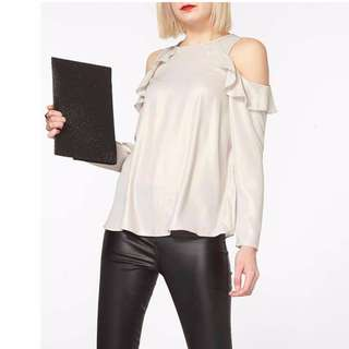 #Summer40 Dorothy Perkins Shimmer Ruffle Top in Gold (UK14)