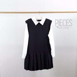 Brand New Korean Preppy Style Mono Black And White Pleated Dress