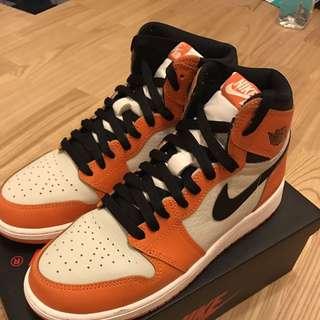 Air Jordan 1 灌碎籃筐 黑橘 7Y