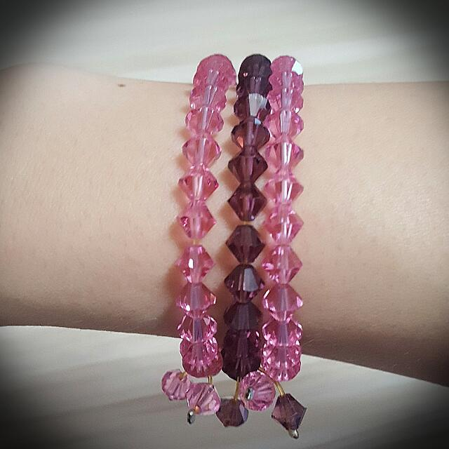 3 Strands Pink & Purple Bracelet