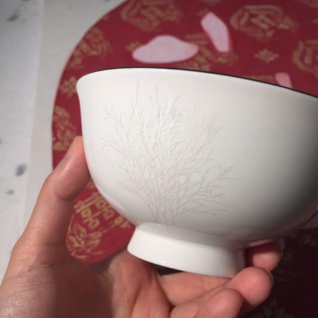 銀色小樹瓷碗四個