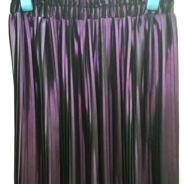 日牌  波因特 金屬紫 超美 百摺長裙