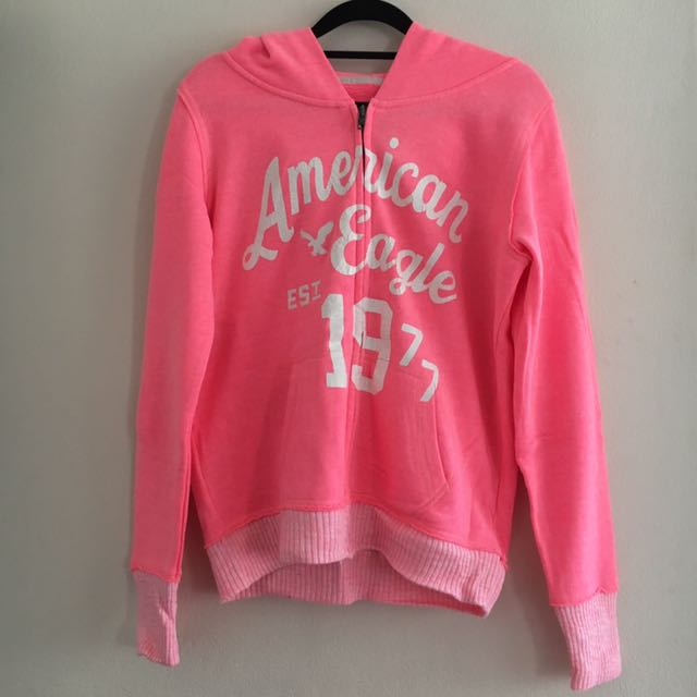 American Eagle Neon Pink Zipped Hooded Jacket