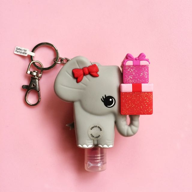Bath And Body Works Pocketbac Hand Sanitizer With Glitter (Devil's Food) And Pocketbac Holder (Elephant) With Lights