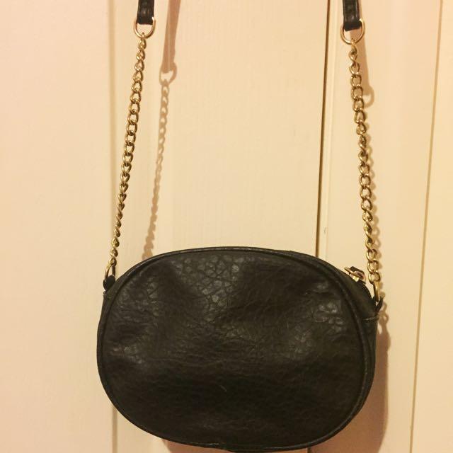 Black And Gold Side Bag