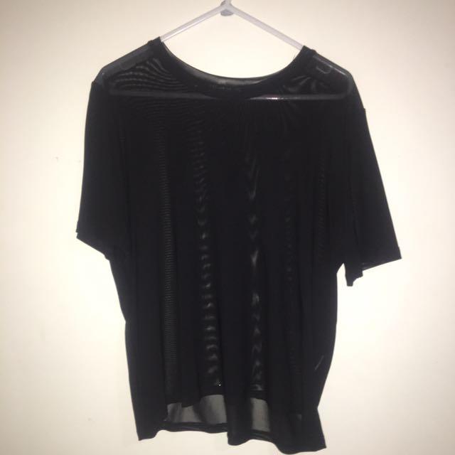 Black Mesh Tshirt