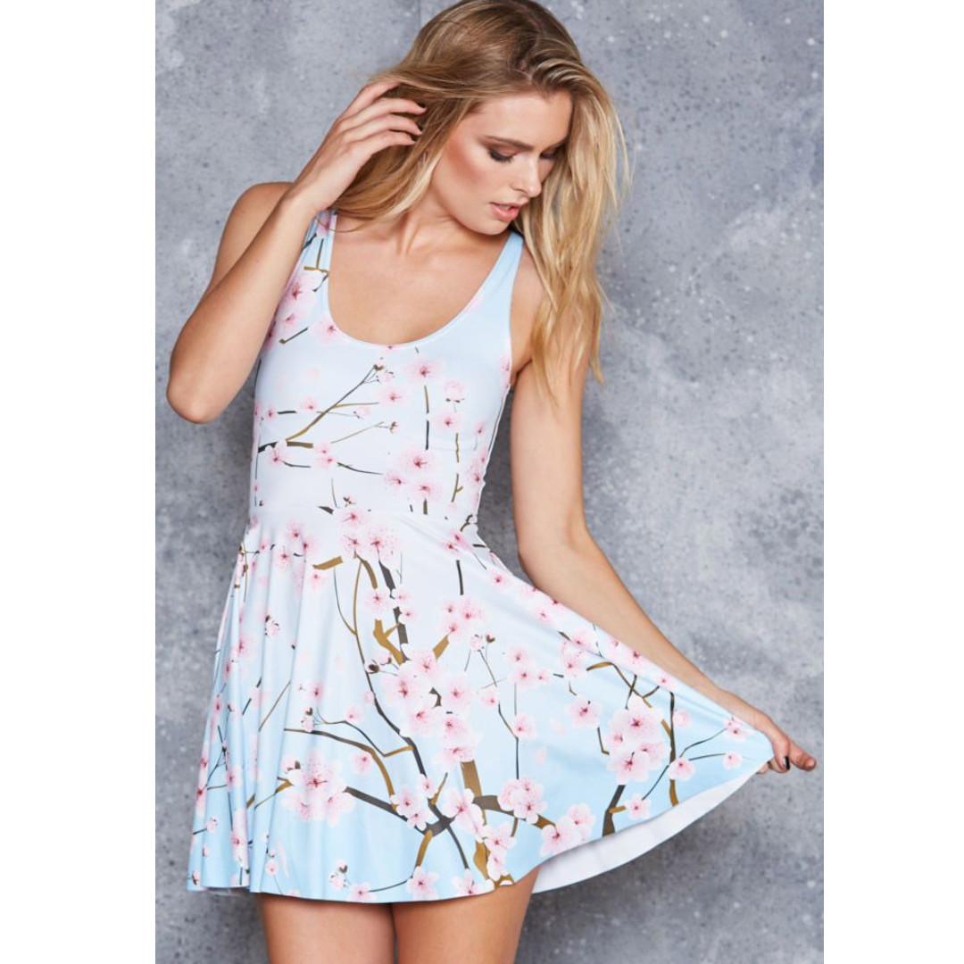 Black Milk - Cherry Blossom Blue Reversible Skater Dress - Size Large with Long Torso