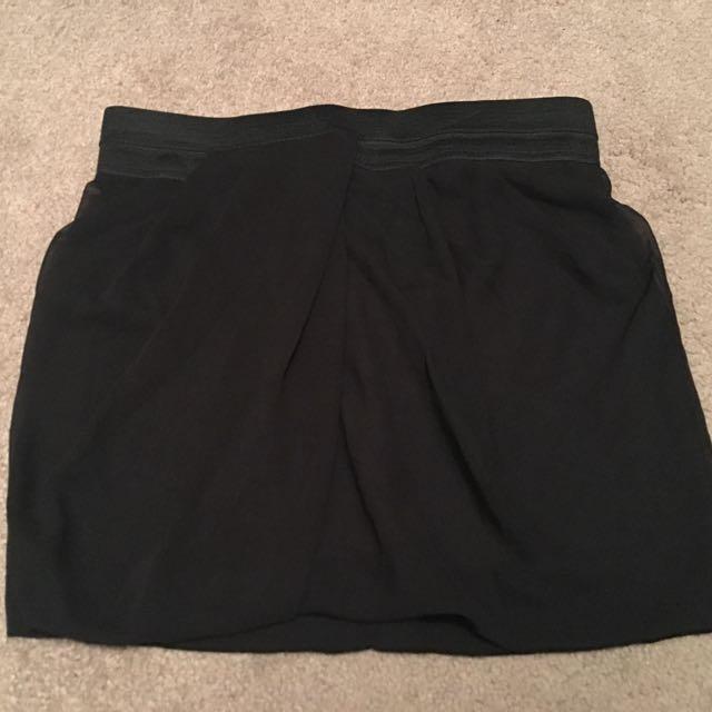 Black Sheer Midi Skirt