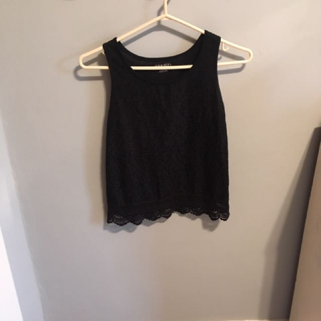 Black Slightly Cropped Lace Tank