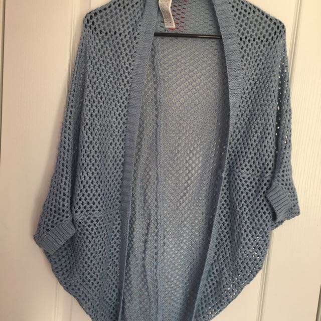 Blue Open-Knit Cardigan/Cover up