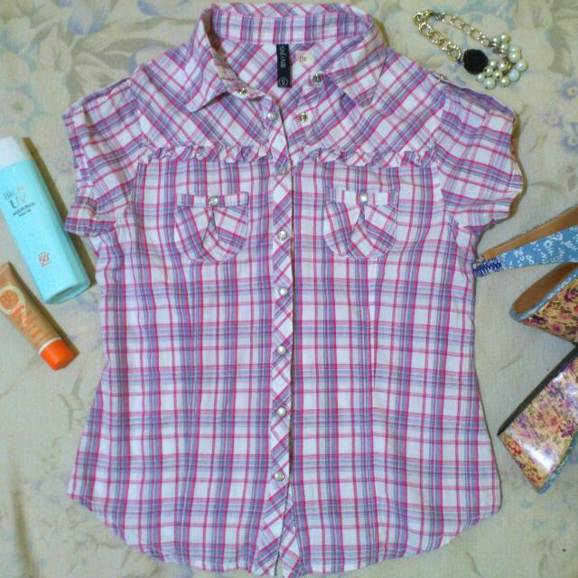 Less 20 % - BNY Pink Checkered Blouse