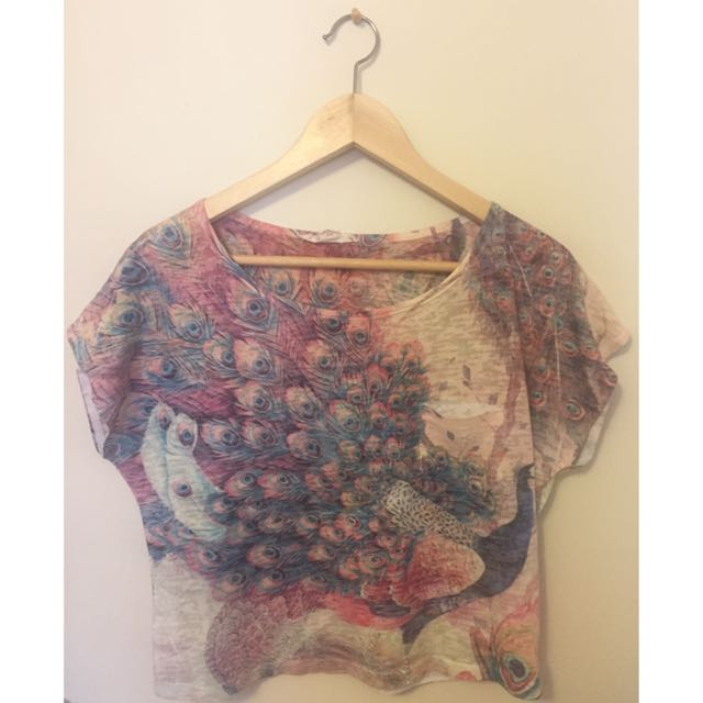 Colourful Peacock Crop Top