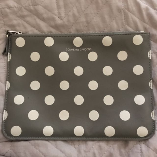 COMME DES GARCONS Large Grey Polka Dot Clutch/pouch