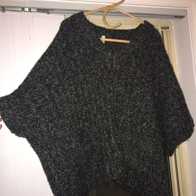 Dark Grey Boutique Knitted Short Sleeve Throw Over