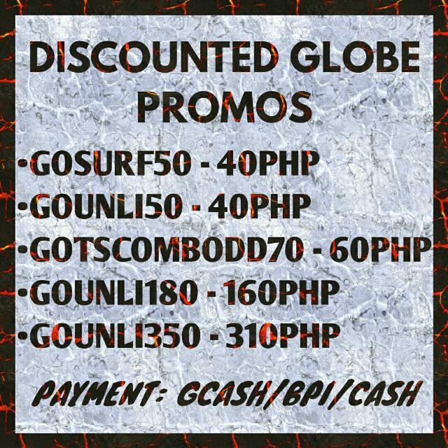 DISCOUNTED GLOBE PROMOS/LOAD