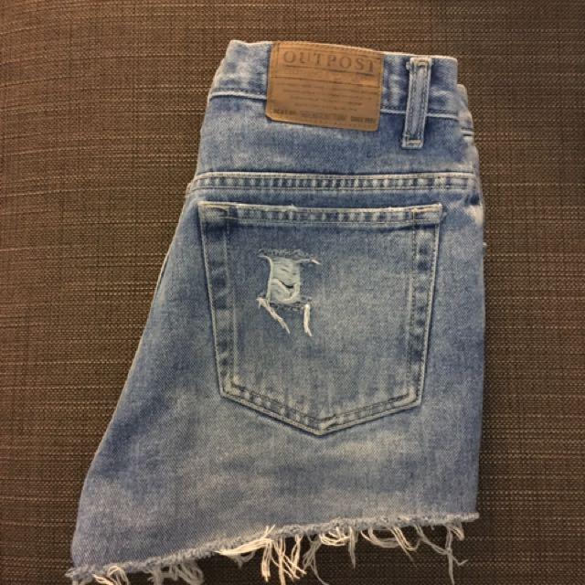Distressed High Waisted Denim Shorts