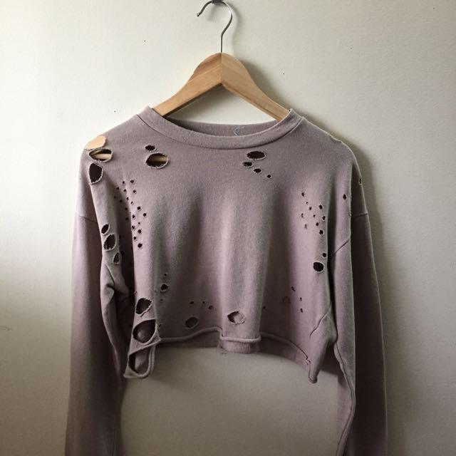 distressed nude sweater