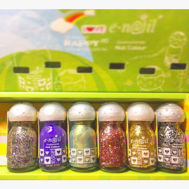 E-nail 專櫃香氛彩繪水指甲 名媛紫 桃花綠葉 黑白點點 指甲油