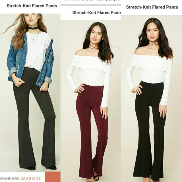F21 Stretch Knit Flared Pants